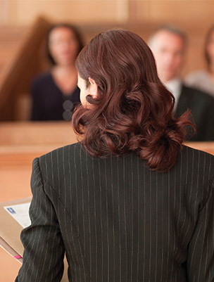 Female lawyer in court