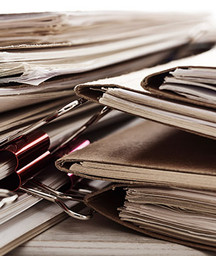 Stack of documents in folders