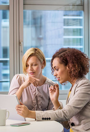 Female accountant talking with client