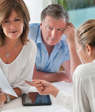 Male accountant talking to client